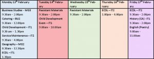 Y11 Revision February HT Sessions 2017