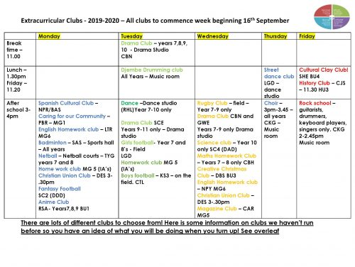 After school clubs from September 2019