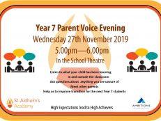 Parent Voice meeting for Yr 7 parents